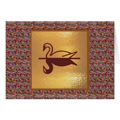 Golden SWAN -  Happy Holidays Decorations Cards