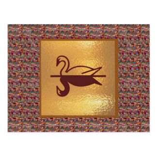 Golden SWAN - Happy Holidays Decorations Postcard