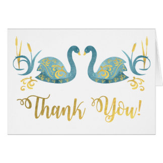 Golden Swans thank you note cards