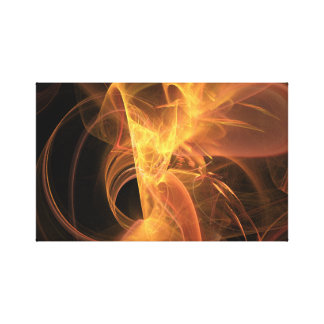 Golden Swirl Abstract Fractal Flame Canvas Print