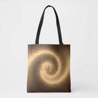 Golden swirl texture. Monogram. Tote Bag
