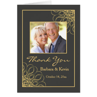 Golden swirls 50th Anniversary Thank You photo Card