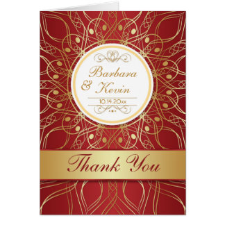 Golden swirls on red 50th Anniversary Thank You Greeting Card
