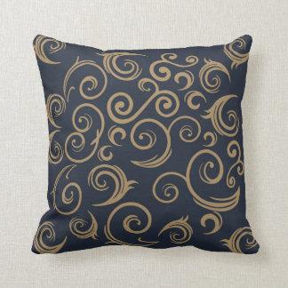 Golden Swirls Throw Pillow