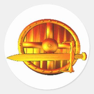 Golden Sword & Shield Round Sticker