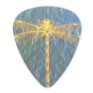 Golden Symbolic Dragonfly On Textured Background Polycarbonate Guitar Pick