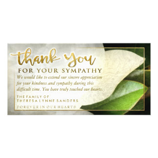 Golden Sympathy Thank You White Floral Card Picture Card