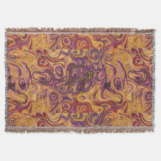 Golden Tan and Purple Fire Stone Throw Blanket