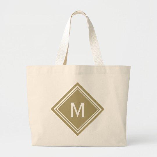 Golden Tan Diamond Monogram Large Tote Bag