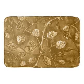 golden tan undulating leaves bath mat