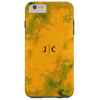 Golden Tangerine Olive Green Abstract Monogram Tough iPhone 6 Plus Case