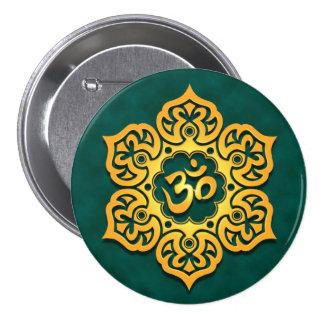 Golden Teal Lotus Flower Om Button
