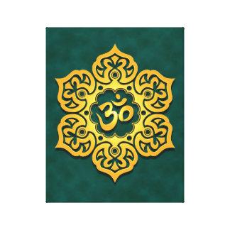 Golden Teal Lotus Flower Om Gallery Wrap Canvas