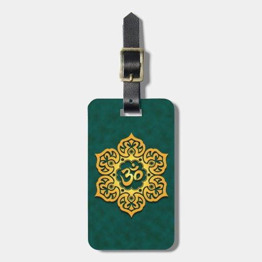 Golden Teal Lotus Flower Om Travel Bag Tags
