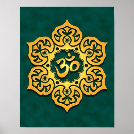 Golden Teal Lotus Flower Om Posters