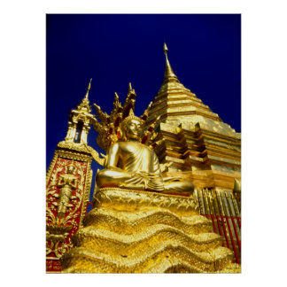 Golden Temple - Chiang Mai - Thailand Poster