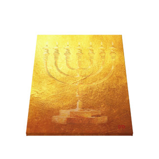 Golden Temple Menorah Judaica Jewish Canvas Print