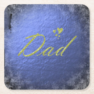 golden text dad square paper coaster
