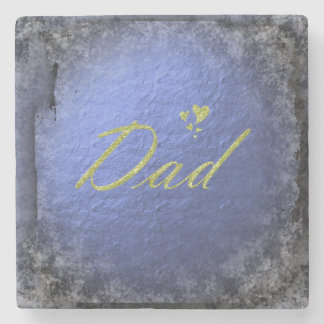 golden text dad stone coaster