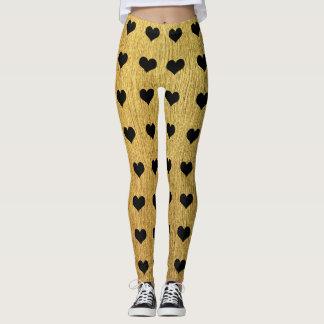 Golden texture and black dalmatian hearts leggings