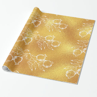Golden Texture Festive Pomegranate Christmas Wrapping Paper