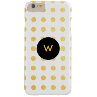 Golden Texture Polka Dots with Monogram Barely There iPhone 6 Plus Case