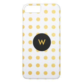 Golden Texture Polka Dots with Monogram iPhone 7 Plus Case