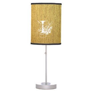 Golden Texture typography Monogram Letter Table Lamp
