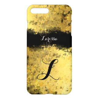 golden texture with name personalized iPhone 7 plus case