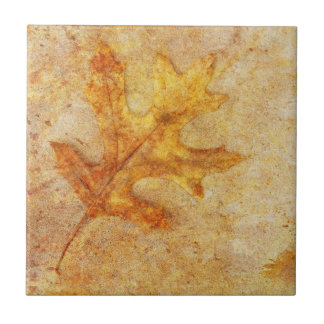 Golden Textured Leaf Ceramic Tiles