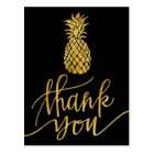 golden thank you calligraphy pineapple on black postcard