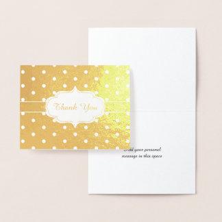 Golden Thank You Classic Polka Dot Pattern Foil Card