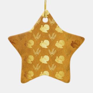 Golden Thanksgiving with Turkey Ceramic Ornament