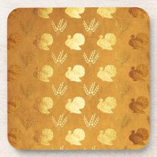 Golden Thanksgiving with Turkey Coaster