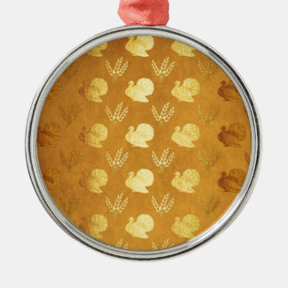Golden Thanksgiving with Turkey Metal Ornament