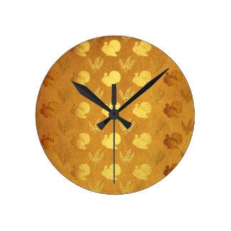 Golden Thanksgiving with Turkey Round Clock
