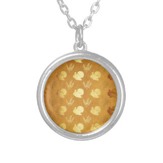 Golden Thanksgiving with Turkey Silver Plated Necklace