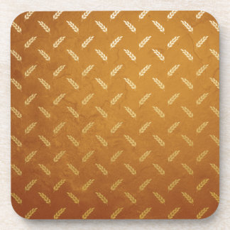 Golden Thanksgiving with Wheat Seed Heads Coaster