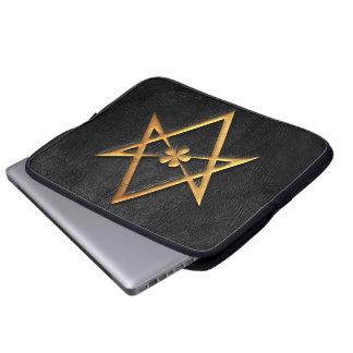Golden Thelemic Unicursal Hexagram Black Leather Laptop Sleeve