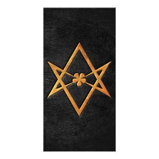 Golden Thelemic Unicursal Hexagram Black Leather Photo Cards