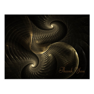 Golden Thread Spiral Fractal Art Postcard