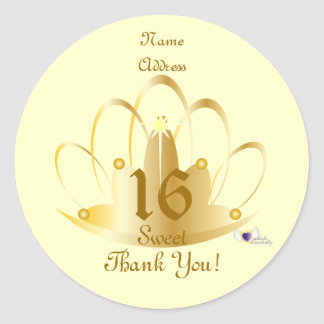 Golden Tiara Sweet, 16 Sticker-Customize Round Sticker
