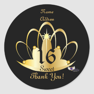 Golden Tiara Sweet, 16 Sticker-Customize Round Sticker