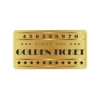 Golden Ticket Admit One Stars  Birthday Party Label