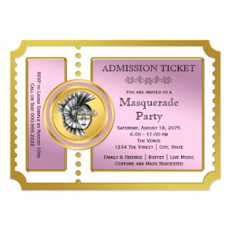 Golden Ticket Pink and Gold Masquerade Party Personalized Announcement