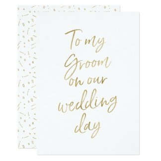 """Golden """"To my groom on our wedding day"""" Card"""