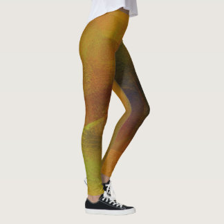 Golden Tones Digital Layered Art Leggings
