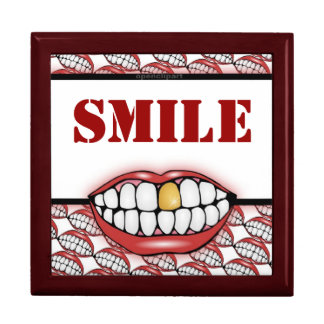 Golden Tooth Smile Box Trinket Boxes