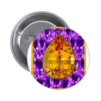 Golden Topaz Amethyst Gems Art 2 Inch Round Button