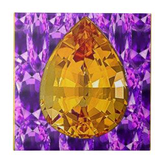 Golden Topaz Amethyst Gems Art Ceramic Tiles